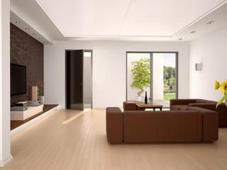 3d illustration of Interior design living room in a modern style