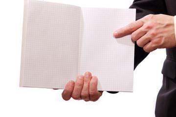 Business Hand eines Mann 's, zeigt in geöfnetes Buch