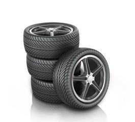 Car wheels on white background.