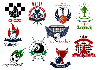 Set of sporting emblems and icons