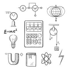 Physics and mechanics sketch icons