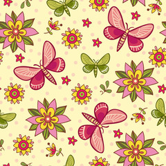 Seamless pattern with flowers and butterflies in vector. Vector illustration on autumn theme with butterflies and flowers on a beige background.