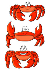 Happy red ocean cartoon crabs with large claws