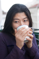 young japanese woman drink tea