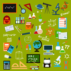 School supplies and education flat icon set