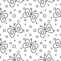 Seamless vector pattern with insects, black and white background with butterflies and dots.