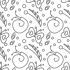 Seamless vector pattern with insects, black and white background with snails, butterflies and dots.