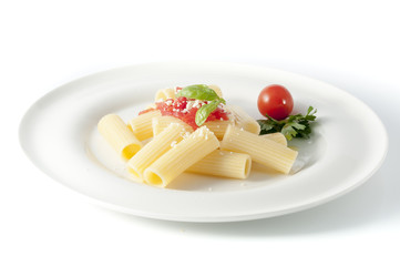 rigatoni pasta with chopped tomatoes, basil, Parmesan cheese and extra virgin olive oil