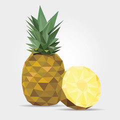 Pineapple, Polygonal Pineapple in Vector