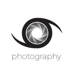 Vector icon diaphragm and eye, photography concept