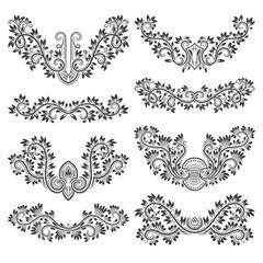 Design ornamental elements set. Floral tattoo in vintage style.