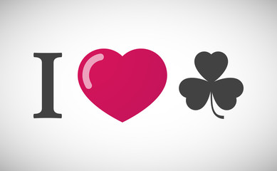 """I love"" hieroglyph with a clover"