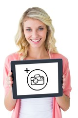 Composite image of young pretty student showing tablet pc