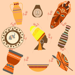 Africa Safari set vector icons. Ritual objects and traditional p