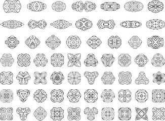 Set of ornamental geometric design elements and page decorations.