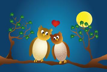 Zwei verliebte Eulen auf einem Ast bei Mondlicht