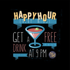 Happy Hour. Get A Free Drink. Vector Cartooned illustration.