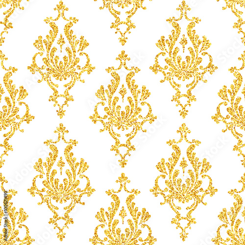 """Vector gold glitter damask floral seamless pattern ..."