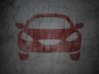 Tourism concept: Car on grunge wall background