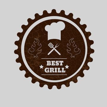 Vintage Grilled Steak Menu Stamp eps10 vector illustration