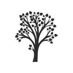 silhouette of tree with leaves