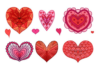 Set of red and pink doodle hearts decorated boho patterns