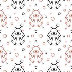 Seamless vector pattern with insects, symmetrical  background with red and black ladybugs and dots on the white backdrop.