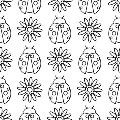 Seamless vector pattern with insects, symmetrical  black and white background with ladybugs and daisies.