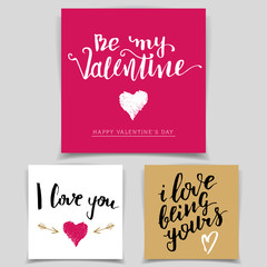 Brush calligraphy love cards set. Handwritten text isolated on white background for happy Valentine's day cards, wedding cards, t-shirts or posters