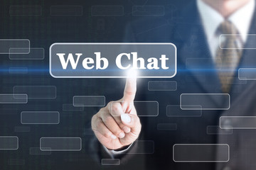 Businessman pressing Web Chat concept button. Can be used in advertising.
