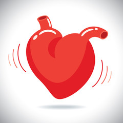 Human heart with beat, vector illustraion