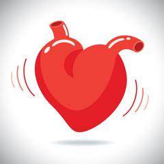 Human heart with beat, vector illustraion