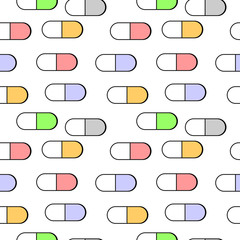 Medical pills seamless pattern.