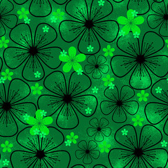 Seamless background with green flowers
