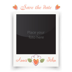 Vintage wedding frame. Template for photo of the bride and groom. Vector illustration