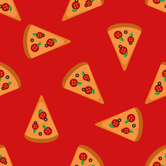 Vector bright pizza slices seamless pattern