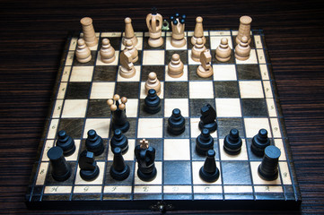 Chess-Board with chess. Chess tournament.