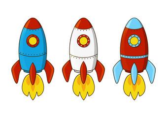 Set of cartoon rockets isolated on white