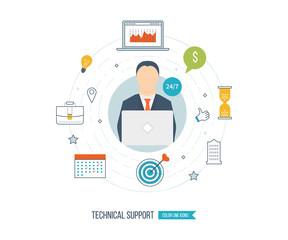 Technical support flat illustration.