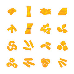 Pasta types icon set. Vector eps 10.