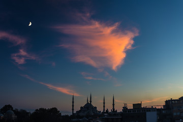 Twilight urban View of historical District of Istanbul City