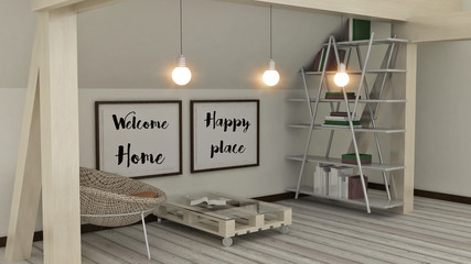 Wecome Home, Happy place posters i modern interior. House, Home, Love, Family  and happiness concept. Scandinavian style. 3D render