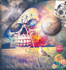 Macabre series with sugar skull in the storm
