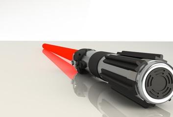 red lightsaber on white background