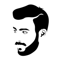 Clip art of young bearded hipster looking away. Easy editable layered vector illustration.