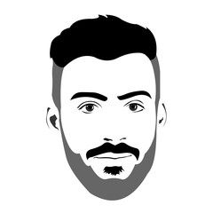 Clip art of young bearded man with blank expression looking at camera. Easy editable layered vector illustration.
