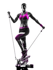 Fototapete - woman fitness stepper silhouette