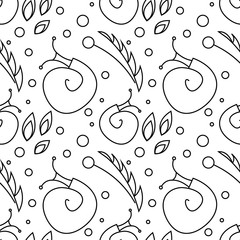 Seamless vector pattern with insects, chaotic black and white background with snails, leaves and dots.