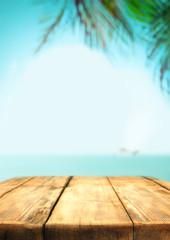 Wooden table bar  pub beach under palm trees, bar, sea summer holidays