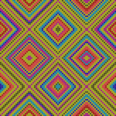 decorative colorful ethnic x-stitch seamless pattern